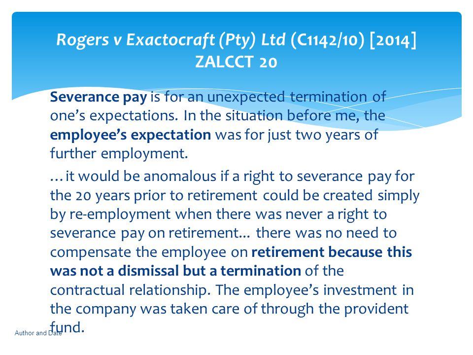 Rogers v Exactocraft (Pty) Ltd (C1142/10) [2014] ZALCCT 20